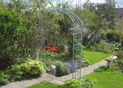 Bespoke wide garden arch in Oriental blue painted finish, St George Bristol