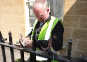 Alan Paterson makes repairs on site