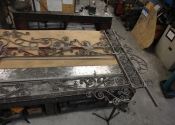 Laid out on the bench - we are starting to see how it will look when back in situ