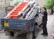 James Cuthbertson of Ironart  - loading the van in our workshops in Larkhall in preparation for the installation of the Sun Flower on Bathwick Hill roundabout