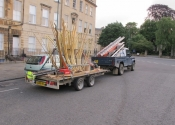 Andy's Landrover and the Sun Flower loaded onto the trailer at Bathwick Hill, Bath