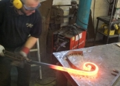 Jason Balchin forming scrolls, Ironart of Bath