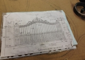 Drawing of bespoke wrought iron entrance gates - Ironart