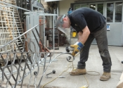 Dominic West working on the Saltford contemporary balustrade