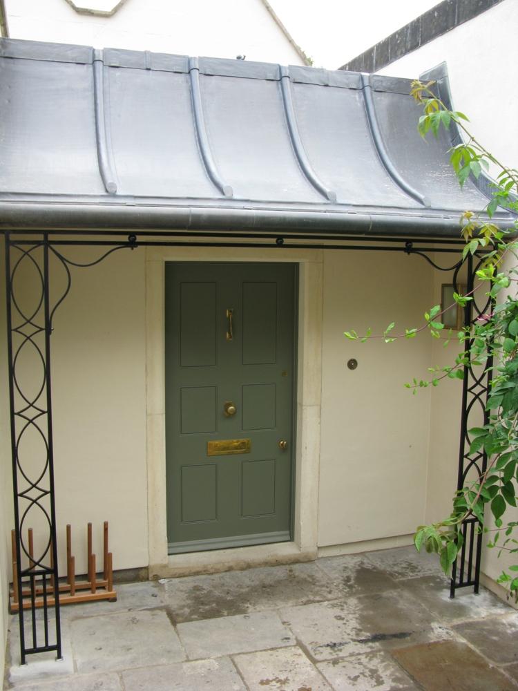 Decorative Wrought Iron Porch On Church Lane Widcombe. Image Number 8 Of Zinc Door Canopy . & Zinc Door Canopy u0026 Front Door Canopies Made From Zinc Galvanized ... pezcame.com