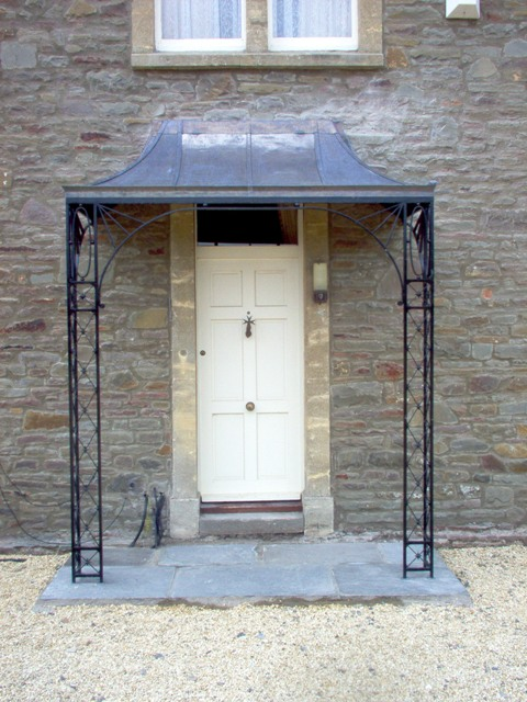 Lead and wrought iron porch with lead star detailing & Porches u0026 Canopies | Ironart of Bath