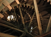 View inside the water wheel at the Claverton Pumping Station, Bath