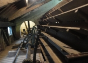View of the sluice gates leading onto the water wheel. The wheel itself can take nine tonnes of water!