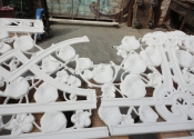 Jigsaw puzzle of pieces in preparation for the restoration of this Coalbrookdale Nasturtium bench