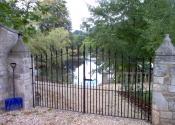 Double entrance gates with cast spear finial detail, Bathampton, near Bath