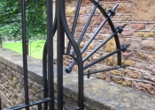 Double side gates at College Fields, Clifton, Bristol - detail showing curved side panel