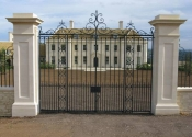 Traditionally made wrought iron double gates at Colerne, Bath