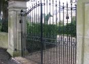 Wrought iron double entrance gates, Freshford near Bath