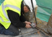 Paul Ashmore, NHIG placement at Ironart - removing the weathervane at St Mary\'s Church, Mudford