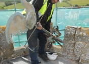 Paul Ashmore, NHIG placement at Ironart - removing the weathervane at St Mary's Church, Mudford
