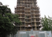 Scaffolding on the Evesham Abbey Tower