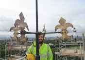 James Cuthbertson of Ironart on top of Evesham Abbey Bell Tower