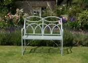 Hoopback two seat garden bench by Ironart in Pigeon Blue painted finish