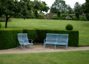 Lansdown benches by Ironart of Bath - shown here in Oriental blue finish