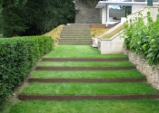 Contemporary garden steps - rusted metal finish