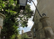 Adjustments to the overthrow on the gates at St Mary Tory chapel, Bradford on Avon, Wilts