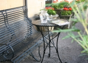 Slatted top Cafe Table in black painted finish by Ironart of Bath
