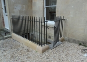 Bath finial railings and single gate, basement entrance, Weston, Bath