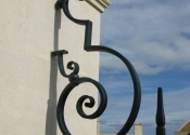 Detail of the wrought iron railings at Colerne