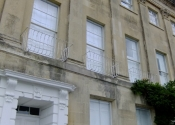 Reinstated on the facade of a Grade I listed building in Camden, Bath