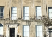 Restoration of three scalloped \'tulip\' balconettes in Camden, Bath