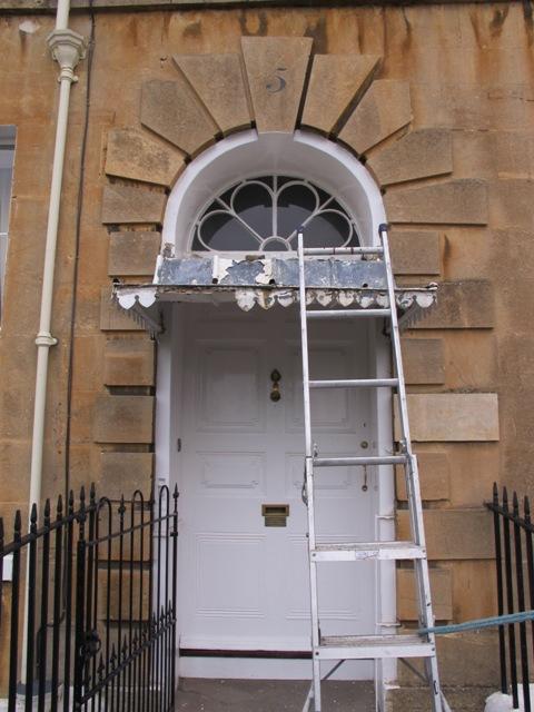 Restoration of three zinc covered door canopies on Georgian Cavendish Crescent in Bath. & Georgian door canopy | Ironart of Bath
