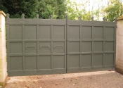 Sheeted security gates on Cuckoo Lane, Frome, Somerset