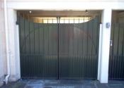 Sheeted double security gates, Julian Road, Bath