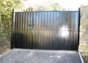Sheeted double security gates, Bathwick Hill, Bath