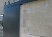 Sliding metal security door, The Ustinov Theatre, Bath
