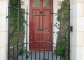 Wrought iron single gate on Vicarage Street, Frome