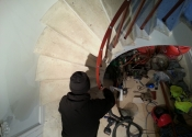 The Ironart team at work fitting the staircase near Swainswick, Bath