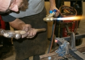 Simon Bushell forming the heel pivot joint