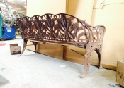 Lily of the Valley Coalbrookdale three-seat bench prior to restoration