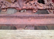 Lily of the Valley Coalbrookdale three seat bench prior to restoration
