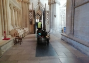 Andy moving equipment through Wells Cathedral