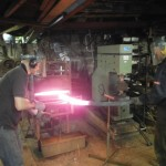 Jason and Dom heating the 38mm bar in the forge