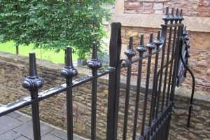 Cast iron finials on steel posts