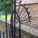 The curved side panel at the double gates, College Fields, Clifton, Bristol