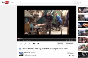 Video clip of Jason Balchin forming a tapered scroll finial