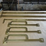 Brass bespoke shutter bars by Ironart of Bath