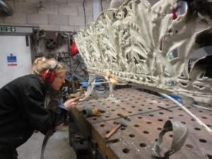 Cecilie restoring Coalbrookedale bench (2)