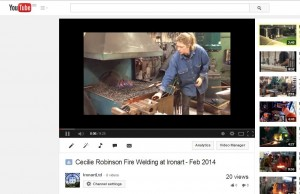 Youtube clip of Cecilie Firewelding at Ironart