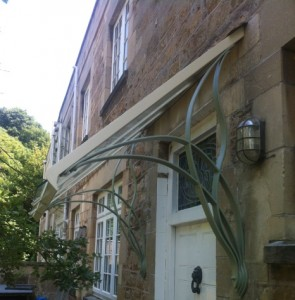 Glass and metal canopy Lansdown (2)