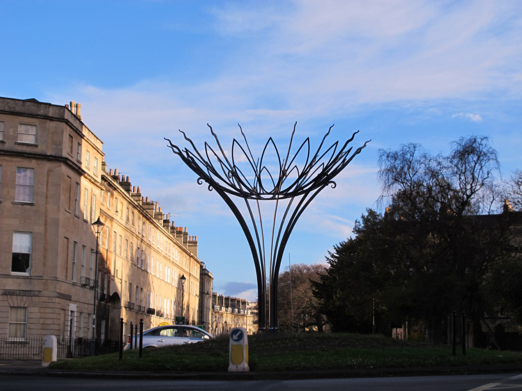 Artists impression of the Sun Flower sculpture on the Bathwick Hill roundabout in Bath